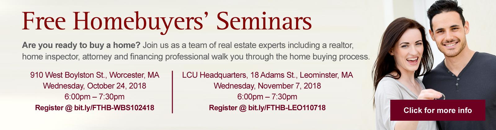 Free Homebuyers' Seminars